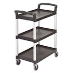 Cambro BC331KD110 3-Level Polymer Utility Cart w/ 300-lb Capacity, Raised Ledges