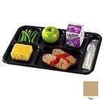 "Cambro BCT1014161 Rectangular Budget School Tray - 10x14-1/2"" 6-Compartment, Tan"
