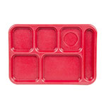 "Cambro BCT1014163 Rectangular Budget School Tray - 10x14-1/2"" 6-Compartment, Red"