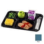 "Cambro BCT1014414 Rectangular Budget School Tray - 10x14-1/2"" 6-Compartment, Teal"