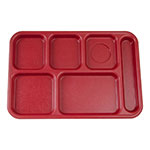 "Cambro BCT1014416 Rectangular Budget School Tray - 10x14-1/2"" 6-Compartment, Cranberry"