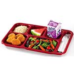 "Cambro BCT1014416 Rectangular Budget School Tray - 10x14-1/2"" 6-Compartment, Cranberry"