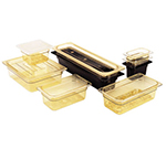 "Cambro 44HP150 H-Pan Hot Food Pan - 1/4 Size, 4""D, Non-Stick, Amber"
