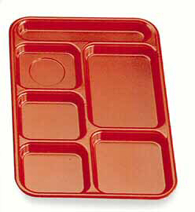 "Cambro BCT1014145 Rectangular Budget School Tray - 10x14-1/2"" 6-Compartment, Yellow"