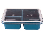 "Cambro 9113CP414 Rectangular Meal Delivery Tray - 3-Compartments, 9x11x2-9/16"" Teal"