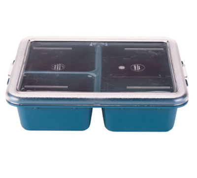 "Cambro 9113CW414 Rectangular Camwear Meal Delivery Tray - 3-Compartments, 9x11x2-9/16"" Teal"