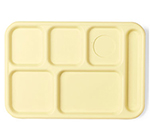"Cambro 10146CW145 Rectangular Camwear School Tray - 6-Compartment, 10x14-1/2"" Yellow"