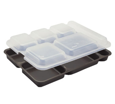 "Cambro 10146DCP161 Rectangular Camwear Separator Tray - 6-Compartment, 10x14-5/32"" Tan"