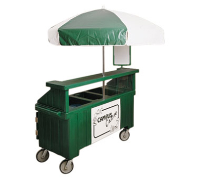 Cambro CVC72-110 Camcruiser Vending Cart -(3)Full-Size Wells, Umbrella, Black/White