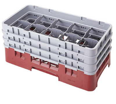Cambro 10HS638416 Camrack Glass Rack - (3)Extenders, 10-Compartments, Cranberry