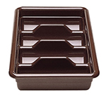 Cambro 1120CBP-110 Cambox Cutlery Box - 4-Compartment, Hi-Gloss Plastic, Black