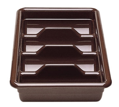 Cambro 1120CBP131 Cambox Cutlery Box - 4-Compartment, Hi-Gloss Plastic, Dark Brown