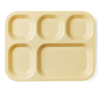 "Cambro 14105CW133 Rectangular Camwear Tray - 5-Comparment, 10-11/16x14x1-1/8"" Beige"