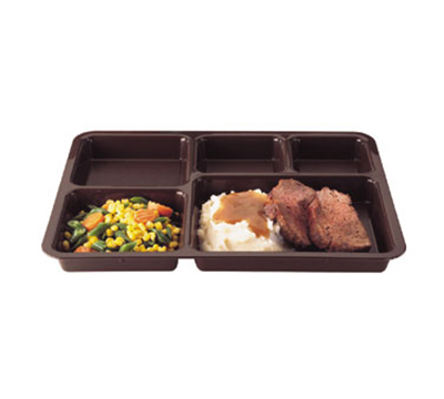 "Cambro 1411CP167 Tray-on-Tray Meal Delivery - 5-Compartment, 14-3/8x10-9/16x1-1/4"" Brown"