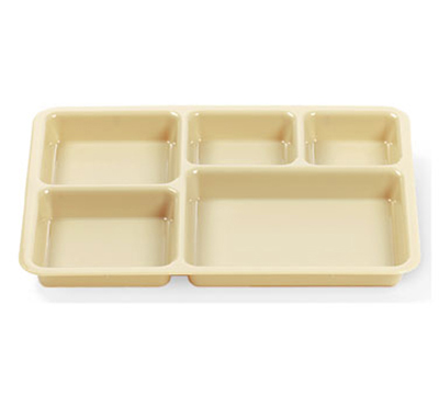 "Cambro 1411CW133 Tray-on-Tray Meal Delivery - 5-Compartment, 14-3/8x10-9/16x1-1/4"" Beige"