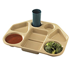 "Cambro 14187TRCW133 Trapezoid Camwear Tray - 7-Compartment, 18x14x1-1/2"" Beige"