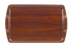"Cambro 1525RST-376 Rectangular Room Service Tray - 14x21"" Walnut"