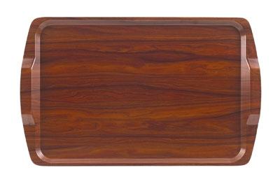 "Cambro 1525RST-376 Rectangular Room Service Tray - 14x21"" Walnut"