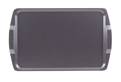 "Cambro 1525RST-612 Rectangular Room Service Tray - 14x21"" Brushed Steel"
