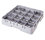 "Cambro 16C258151 Camrack Cup Rack - Full Size, 16-Compartment, 4""H, Soft Gray"
