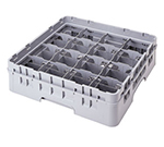 Cambro 16C414151 Camrack Cup Rack with Extender - Full Size, 16-Compartment, Soft Gray