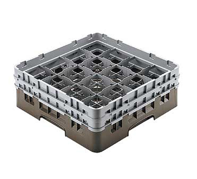 "Cambro 16S638151 Camrack Glass Rack - (3)Extenders, 16-Compartment, 6-7/8""H Soft Gray"