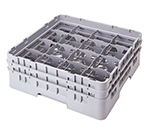"Cambro 16S434151 Camrack Glass Rack - (2)Extenders, 16-Compartment, 5-1/4""H Soft Gray"