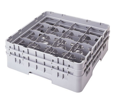 "Cambro 16S434110 Camrack Glass Rack - (2)Extenders, 16-Compartment, 5-1/4""H Black"