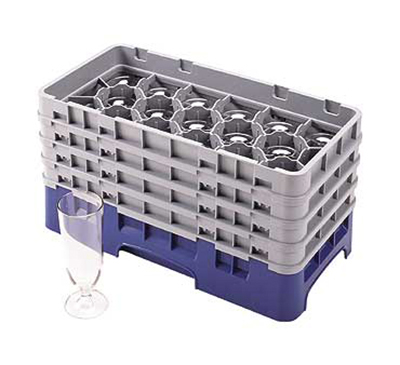 Cambro 17HS434186 Camrack Glass Rack - (2)Extenders, 17-Compartment, Navy Blue