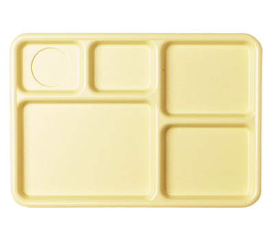 "Cambro 10145CW133 Camwear Rectangular Tray - 5-Compartment, 10x14-1/2"" Beige"