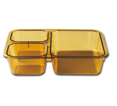 "Cambro 853FH150 Tray-on-Tray Meal Delivery - 3-Compartment, 8-11/16x6-5/16x2"" Amber"