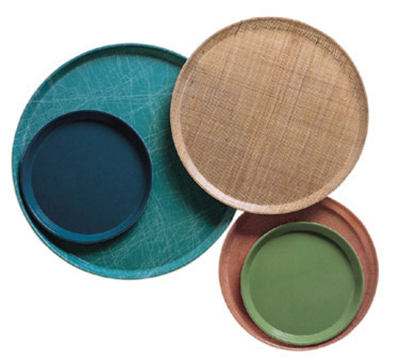 "Cambro 1950428 19-1/2"" Round Serving Camtray - Low Profile, Olive Green"