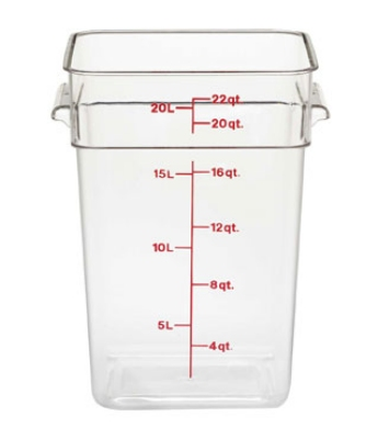 Cambro 22SFSCW-135 22-qt CamSquare Food Container - Polycarbonate, Clear