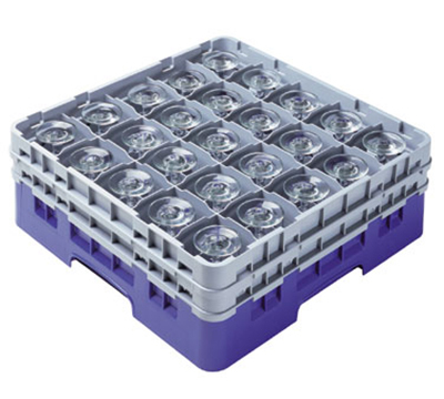 Cambro 25S900186 Camrack Glass Rack - (4)Extenders, 25-Compartment, Low Profile, Navy Blue