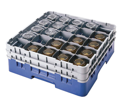 Cambro 25S434168 Camrack Glass Rack - (2)Extenders, 25-Compartment, Blue