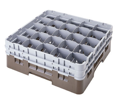 Cambro 25S534167 Camrack Glass Rack - (2)Extenders, 25-Compartment, Low Profile, Brown