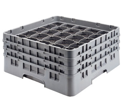 Cambro 25S638186 Camrack Glass Rack - (3)Extenders, 25-Compartment, Navy Blue