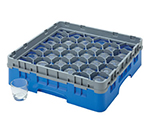 Cambro 30S638168 Camrack Glass Rack - (3)Extenders, 30-Compartment, Blue