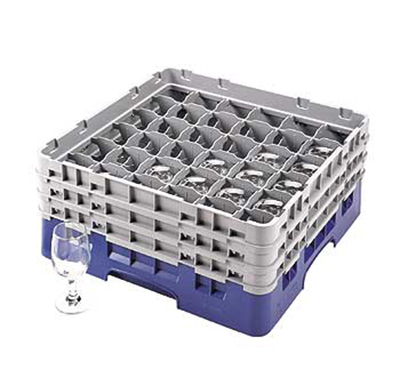 Cambro 36S638186 Camrack Glass Rack - (3)Extenders, 36-Compartment, Navy Blue