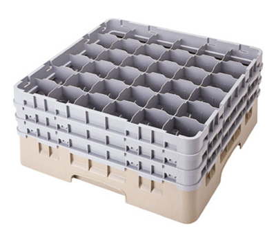 Cambro 36S738416 Camrack Glass Rack - (3)Extenders, 36-Compartment, Low Profile, Cranberry