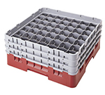 Cambro 49S638163 Camrack Glass Rack - (3)Extenders, 49-Compartment, Red