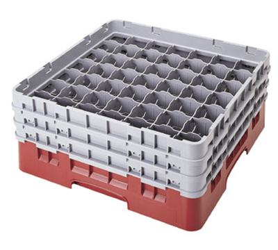 Cambro 49S318151 Camrack Glass Rack with Extender - 49-Compartment, Soft Gray