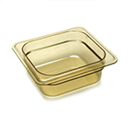 "Cambro 62HP150 H-Pan Hot Food Pan - 1/6 Size, 2-1/2""D, Amber"
