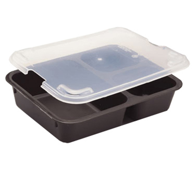"Cambro 853FCP167 Tray-on-Tray Meal Delivery - 3-Compartment, 8-11/16x6-5/16x2"" Brown"