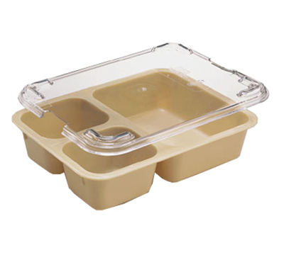 "Cambro 853FCW133 Tray-on-Tray Meal Delivery - 3-Compartment, 8-11/16x6-5/16x2"" Beige"