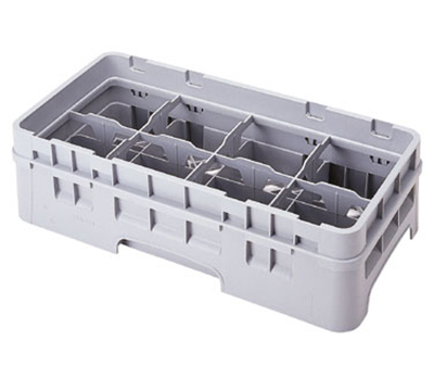 Cambro 8HC414151 Camrack Cup Rack with Extender - Half Size, 8-Compartments, Soft Gray