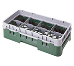 Cambro 8HS318119 Camrack Glass Rack with Extender - Half Size, 8-Compartment, Sherwood Green