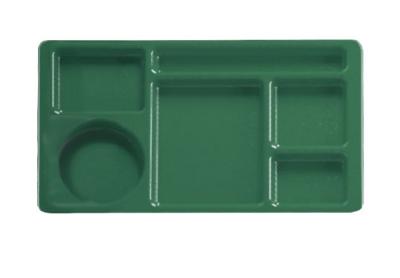 "Cambro 915CW119 Rectangular Camwear Tray - 9x15"" 6-Compartments, Sherwood Green"