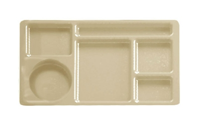 "Cambro 915CW133 Rectangular Camwear Tray - 6-Compartments, 9x15"" Beige"