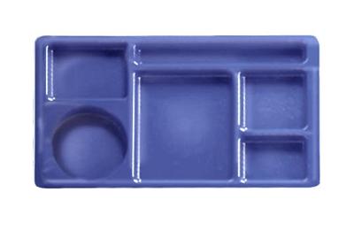 "Cambro 915CW431 Rectangular Camwear Tray - 9x15"" 6-Compartments, Translucent Blue"